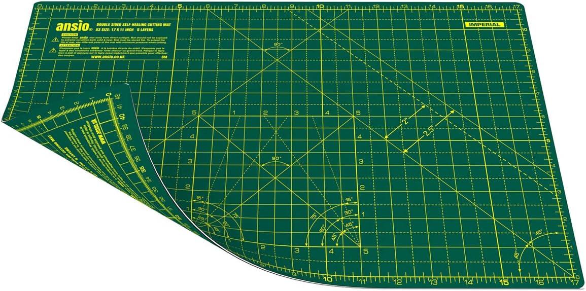 ANSIO Base De Corte A3 Doble Cara Auto Curación 5 Capas Para Costura y Manualidades - Imperial/Métrica 17 x 11 pulgadas / 42 x 27 cm- Verde/Verde