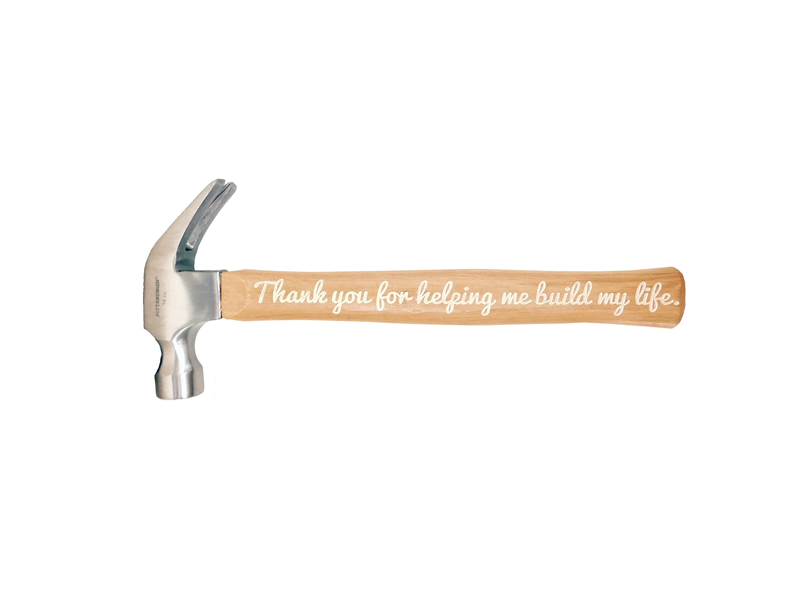 Father's Day Gift Thank You for Helping Me Build My Life DIY Gift Engraved Wood Handle Steel Hammer Color-fill Avaliable (Silver)