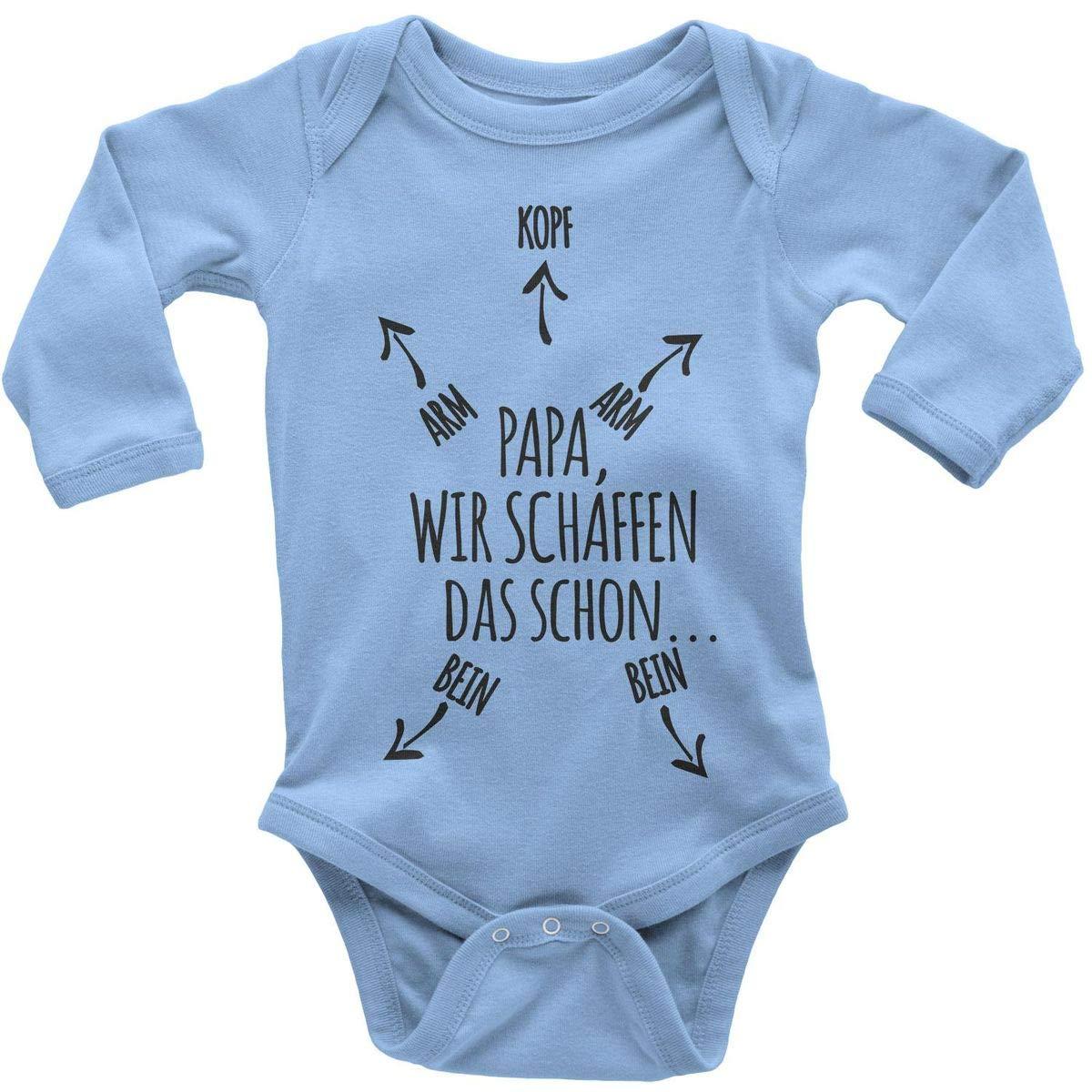 Mikalino Babybody mit Spruch für Jungen Mädchen Unisex Langarm Papa wir schaffen das Schon | handbedruckt in Deutschland | Handmade with Love