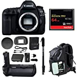 Canon EOS 5D Mark IV Full Frame Digital SLR (Body Only) with Canon Battery Grip BG-E20 + Sandisk 64GB Extreme Pro Compact Flash Memory Card + Monopod, Camera Backpack and Double Battery Bundle