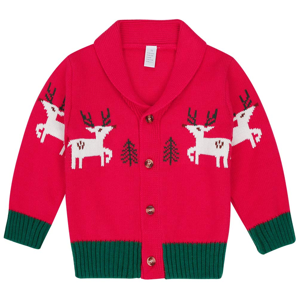 CARETOO Baby Boys Girls Cardigan Sweater, Christmas Deer Long Sleeve V-Neck Button Down Cotton Jacket by CARETOO