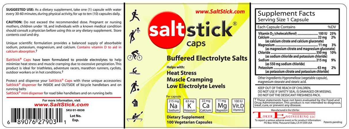 SaltStick Caps, Electrolyte Pills for Hydration, Supplements for Exercise Recovery, Youth & Adult Athletes, Hiking, Camping, Hangovers, & Sports Recovery, Gluten Free, Non-GMO, Bottle of 100 by SaltStick