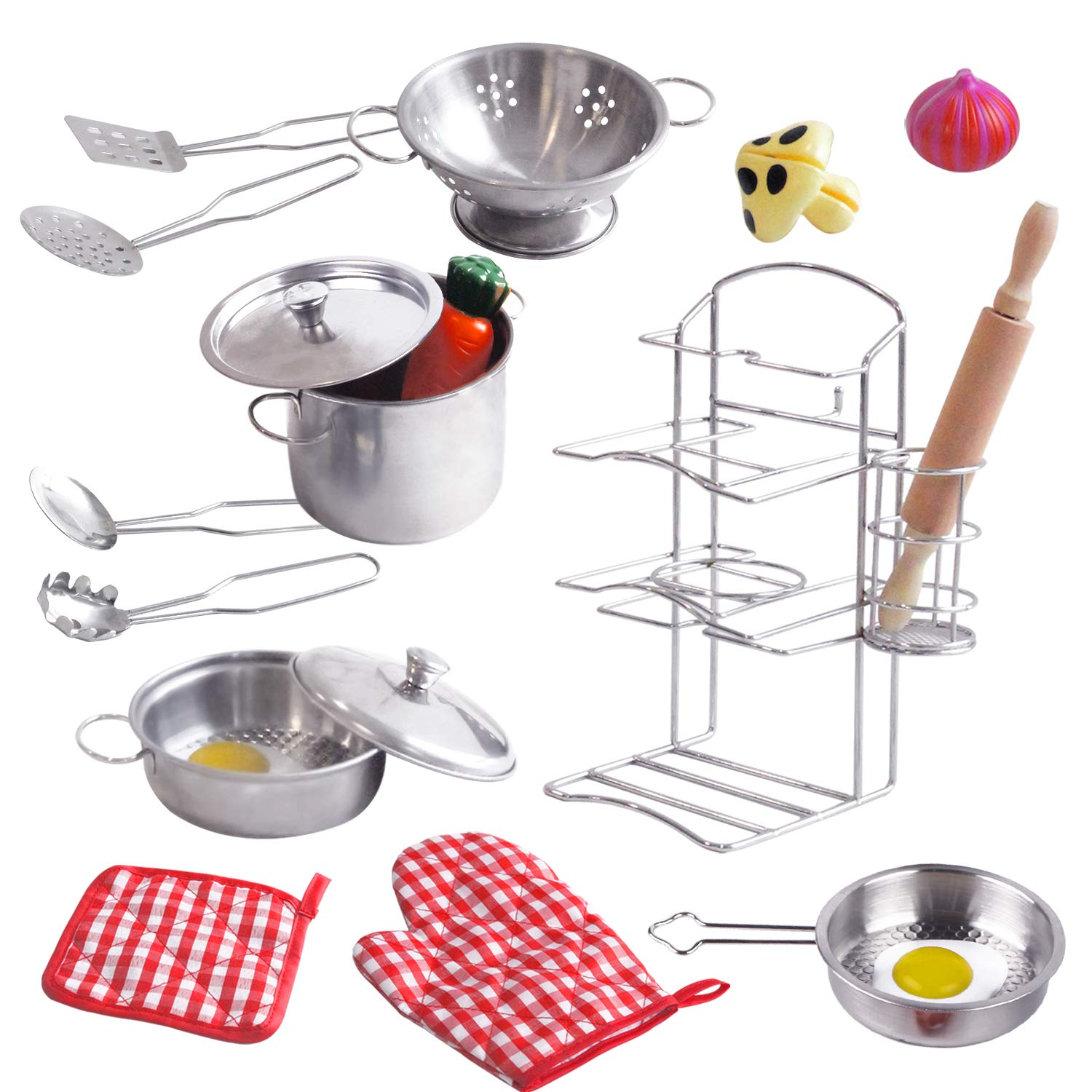 ToyerBee Pretend Play Toys, 17PCS Kitchen Play Accessories Set -Play Food & Stainless Steel Toys with Pots, Pans, Wooden Spoons, Pot Holders & Storage- Pretend Toys for Kids, Toddlers, Girls & Boys by ToyerBee