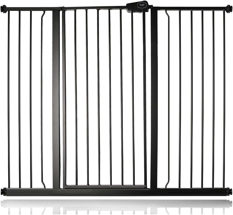 139.8cm - 147.4cm, Slate Grey Safetots Extra Tall Metal Safety Gate Pressure Fit