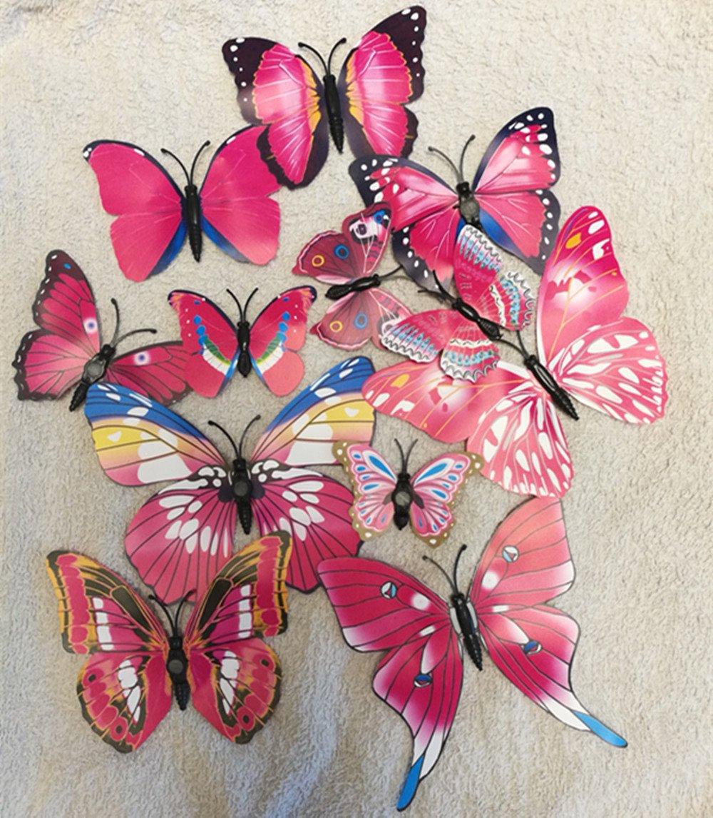 Adesivi magnetici 3D, da parete, in PVC, a forma di farfalla, decorazione casalinga per bambini, 12 pezzi, White, 50 x 70 cm kongboo