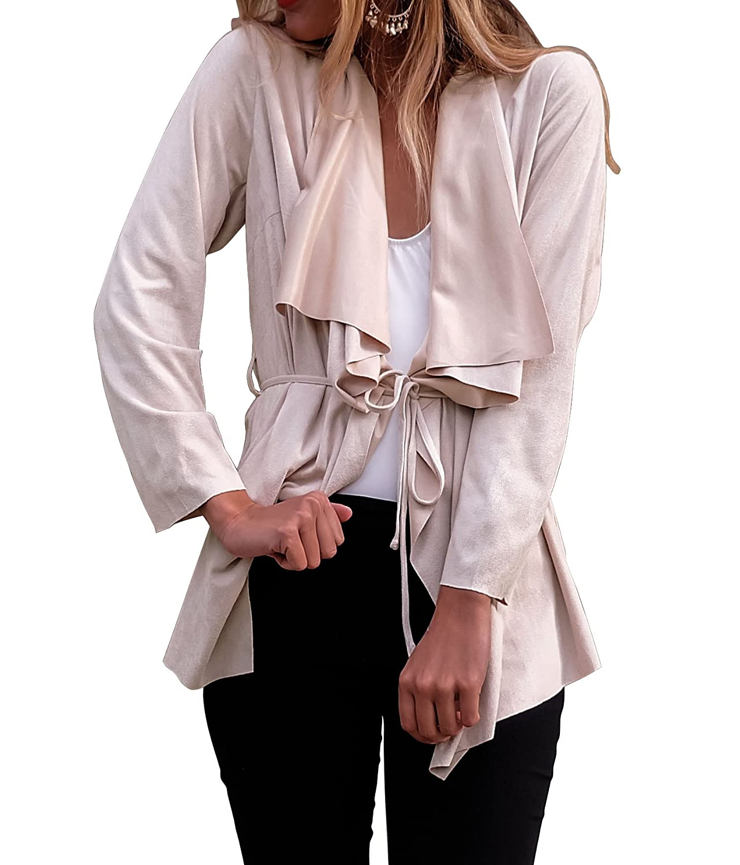 Ya Lida Women's Casual Long Sleeve Trench Coat Cardigan