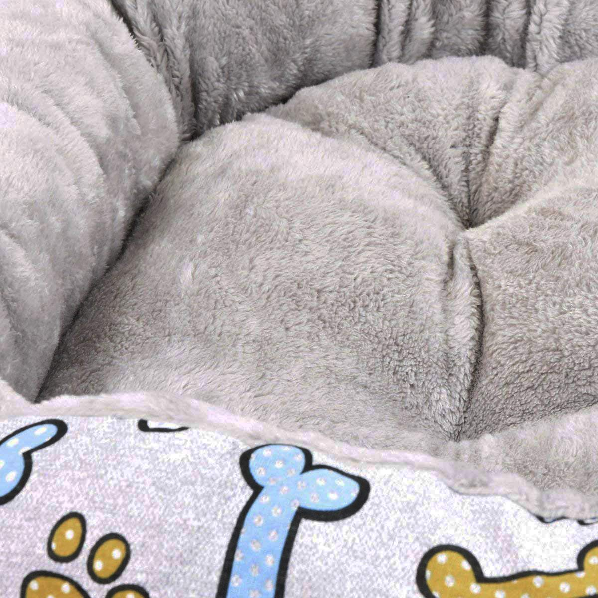 S.L 40cm. Cisne 2013 Cama para Perro y Gato Estampado Huesos Azules Cuna Y COJ/ÍN 50