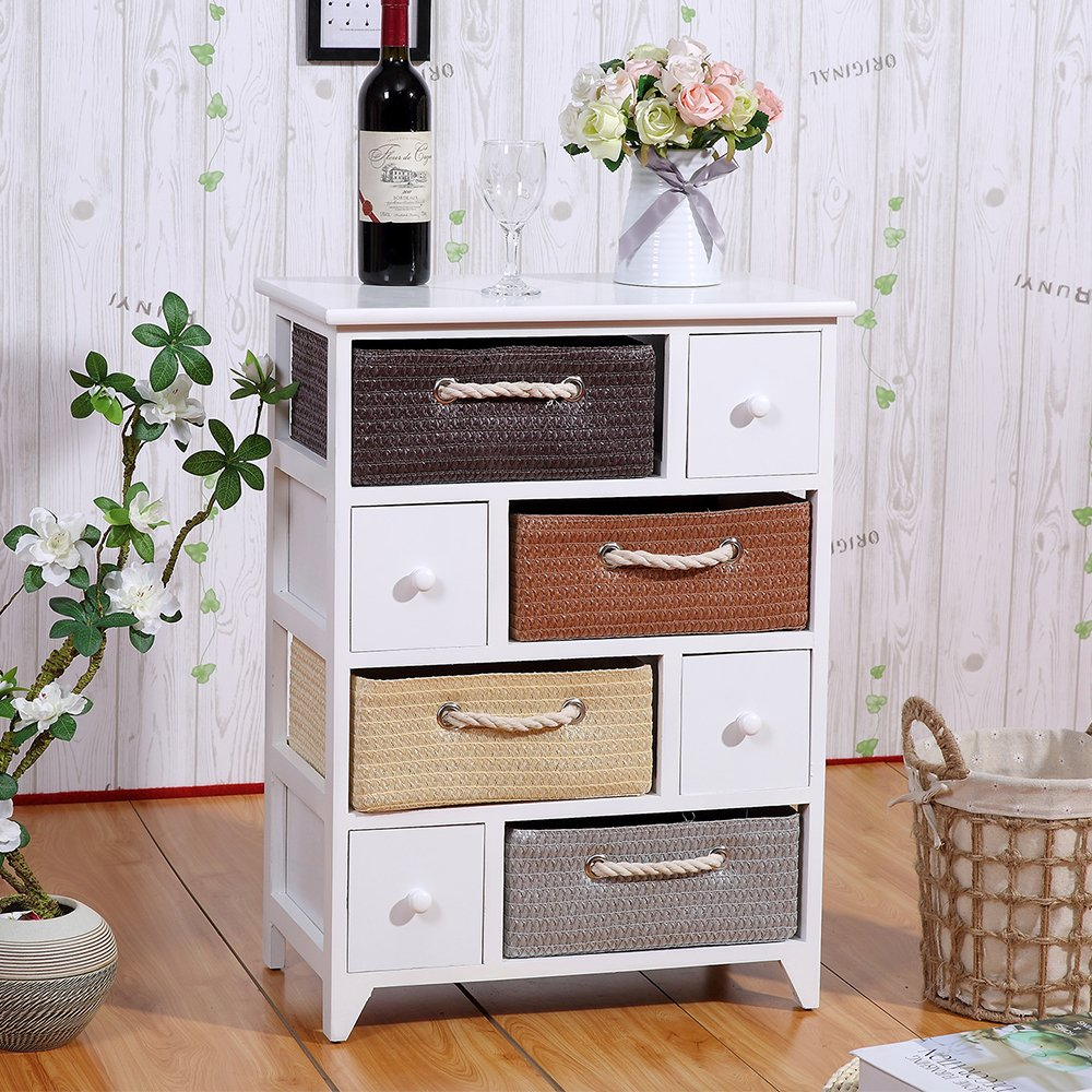 White Storage Table/Night Stand End Side Table with 4 Drawers 4 Woven Baskets Wood Frame for Furniture