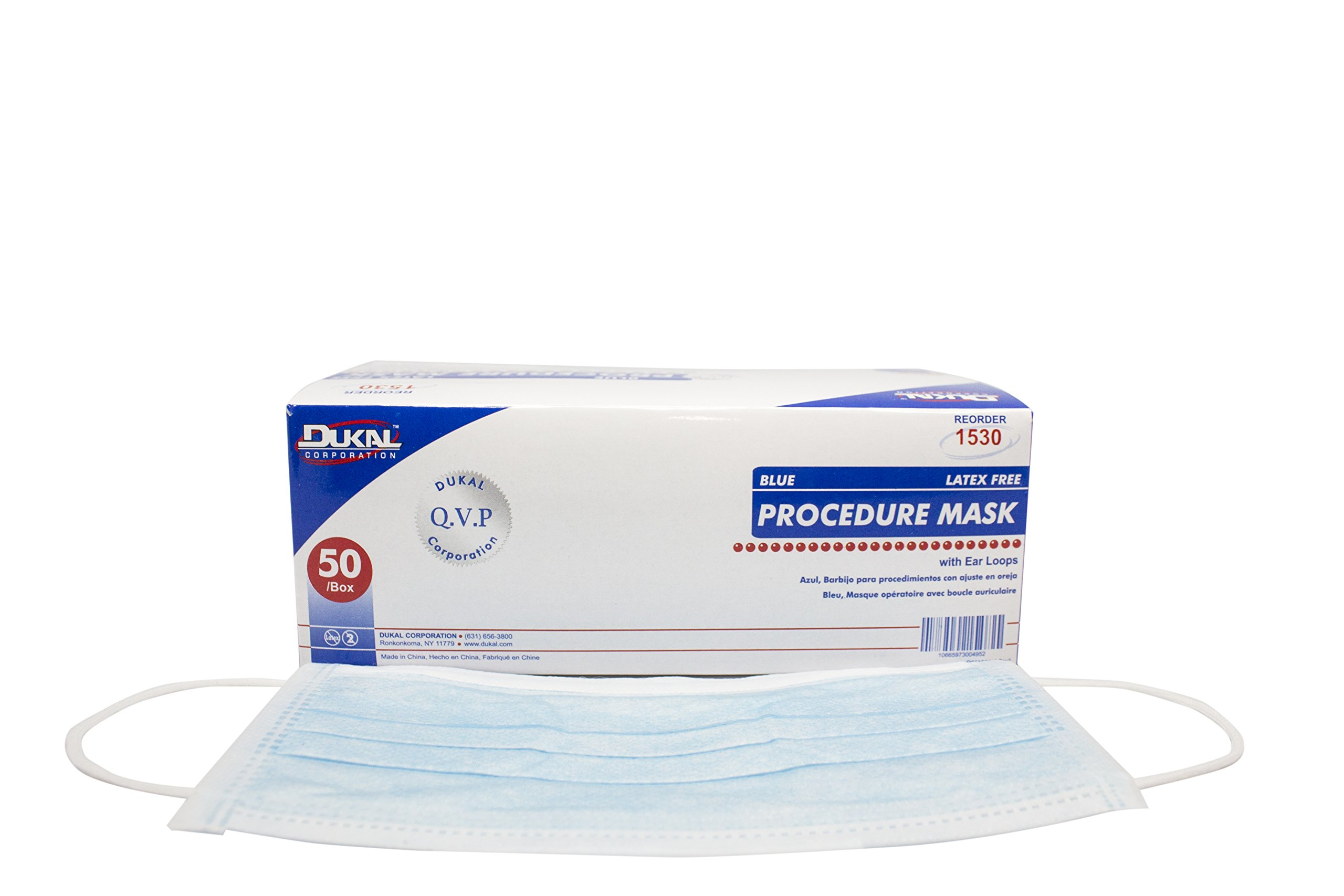Dukal 1530 Mask, Procedure, with Ear Loop, Non Sterile, Blue (Pack of 300) by Dukal (Image #1)