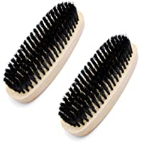 Favorict (2 Pack) Shoe Shine Brush Ellipse Shaped Bristles Polish Brush for Boots, Shoes and Leather Care