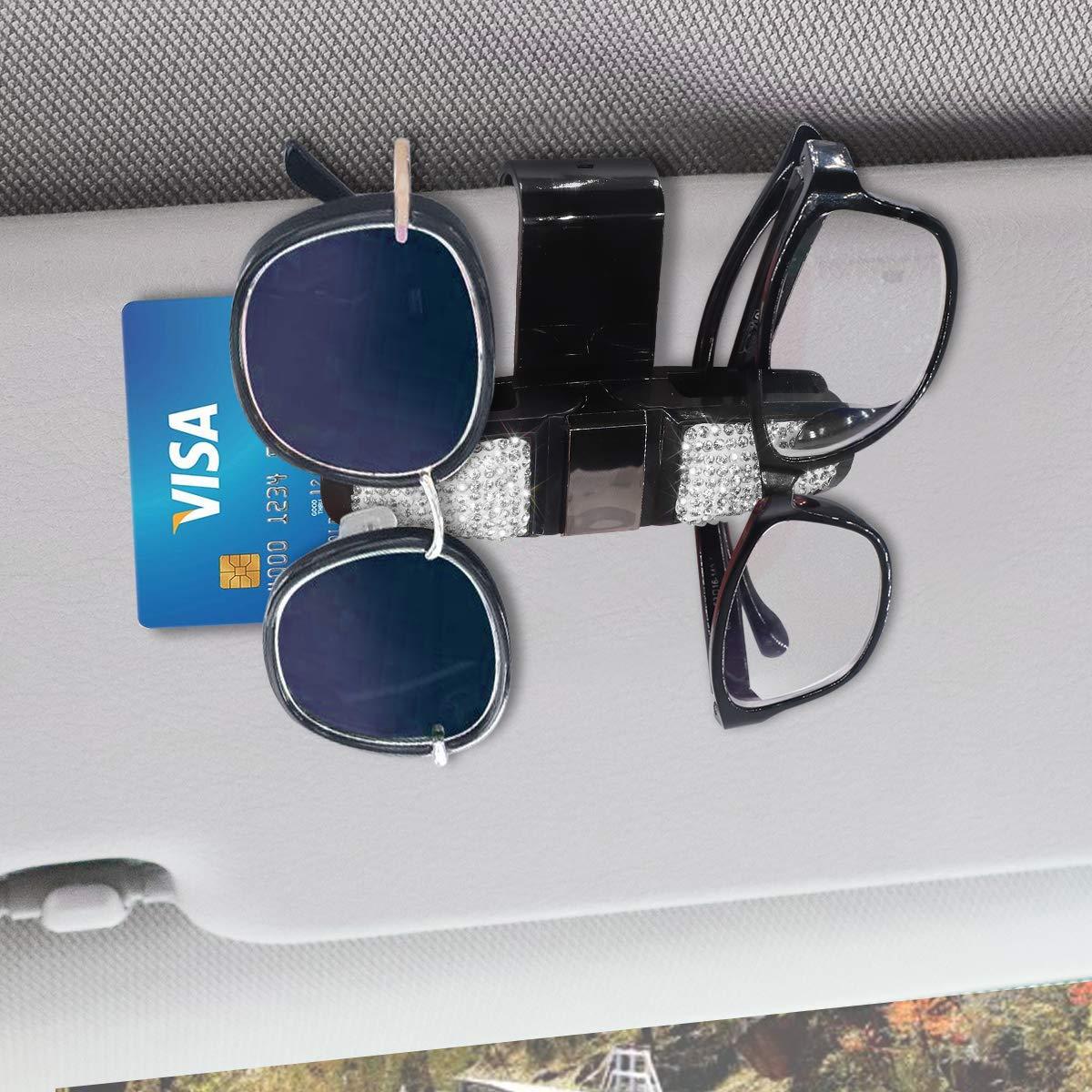 Glasses Holder for Car Visor,Fashion Bling Crystal Rhinestones Car Sun Visor Glasses with Double-Ended Ticket Clip Holder Accessories Pink