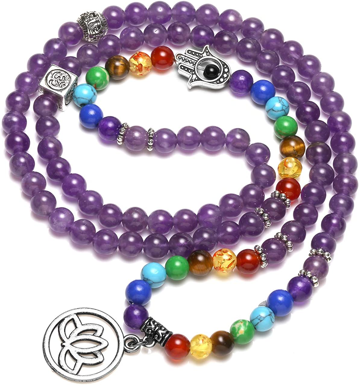 Jovivi 108 Mala Beads Chakra Bracelets Healing Crystal Necklace 6mm Lava Rock Stone Essential Oils Diffuser Bracelet 7 Chakras Bracelets Yoga Meditation for Stress Relief