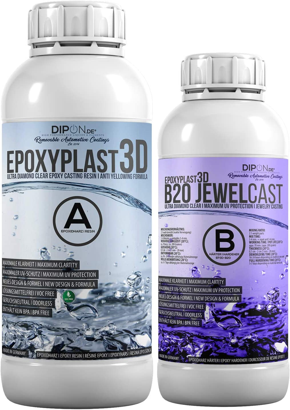 Epoxy Resin Epoxyplast 3d B20 Jewel Cast 1 5 Kg For Resin Art I Ultra Diamond Clear I Excellent Uv Protection I Jewellery I Casting Resin I Crystal Clear I Mould Building I