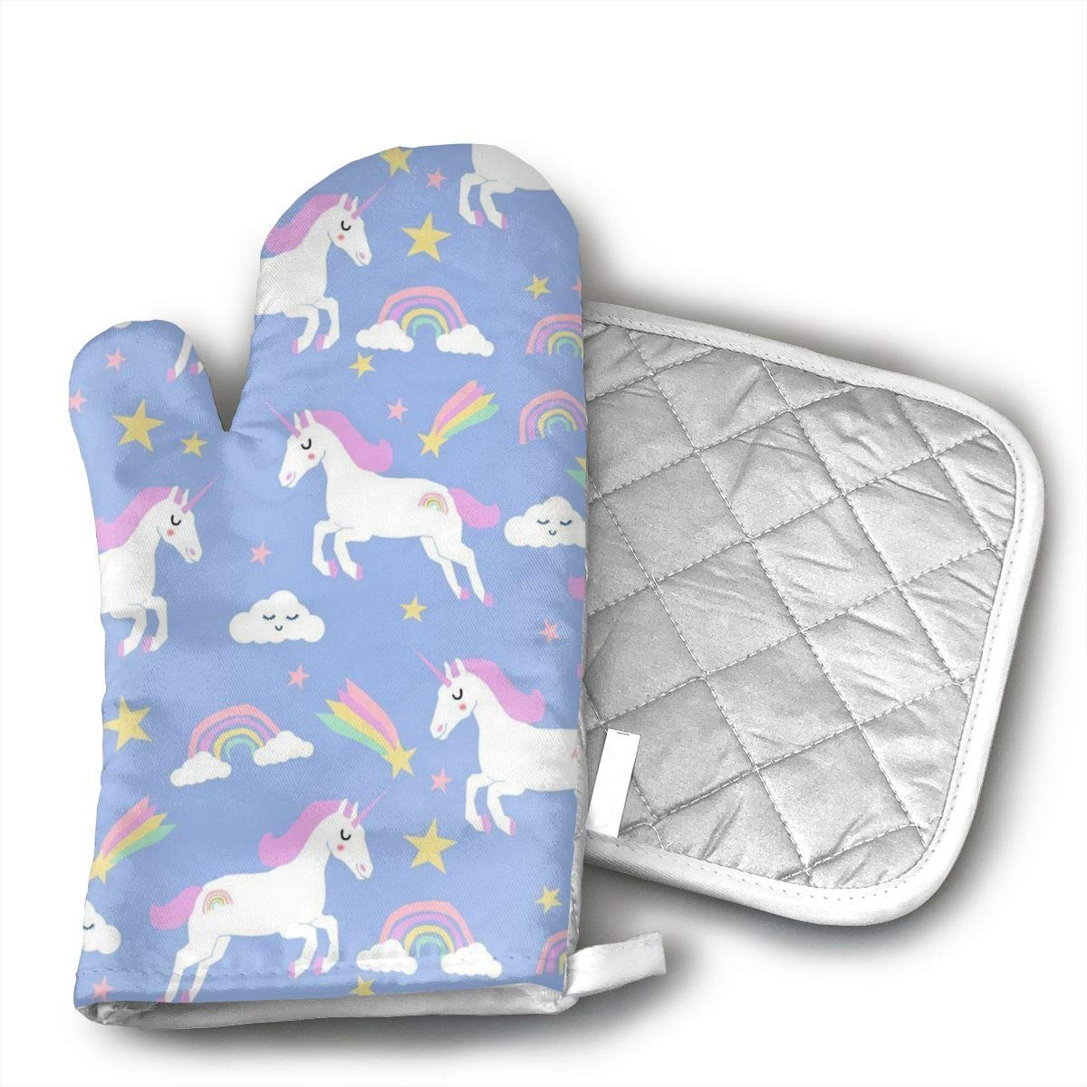Teuwia Rainbow Clouds Stars Cute Girls Unicorn Oven Mitts and Pot Holders Baking Oven Gloves Hot Pads Set Heat Resistant for Finger Hand Wrist Protection