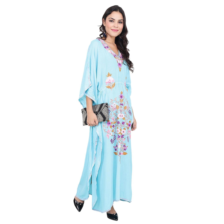 CRAFTBAZAR Women's Boho Floral Embroidered Blue Kaftan (Free Size)