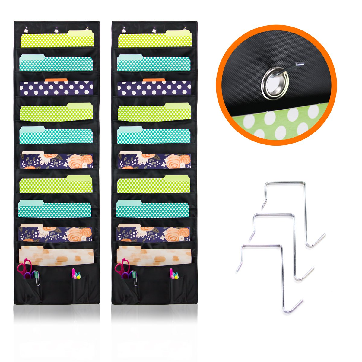 Best Storage Pocket Chart Includes: 20 Large Deep Pockets 4 Small Pockets for Accessories /& 6 SS Hooks Best Organizer for Office Wall Cascading Hanging File /& Folder Holder Home /& Classroom