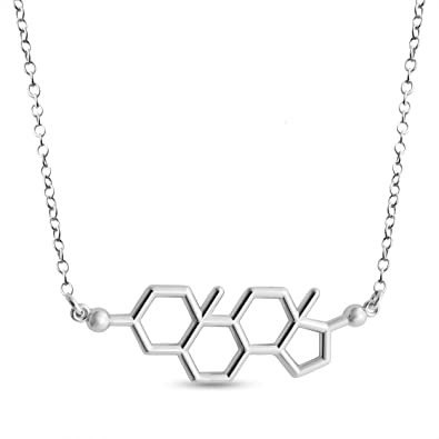 Azaggi 925 Sterling Silver Necklace Estrogen Molecule Female Sex Hormone Chemical Structure Charm Pendant Jump Ring Necklace .This 925 Silver Necklace is The Perfect Jewelry Gift
