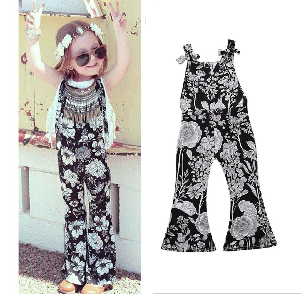 ed6c47429b6f5 Amazon.com: Franterd Baby Girls Strap Rompers for Toddler Kids Summer  Overalls Sleeveless Jumpsuits Bell Flares Floral Black Pants: Arts, Crafts  & Sewing