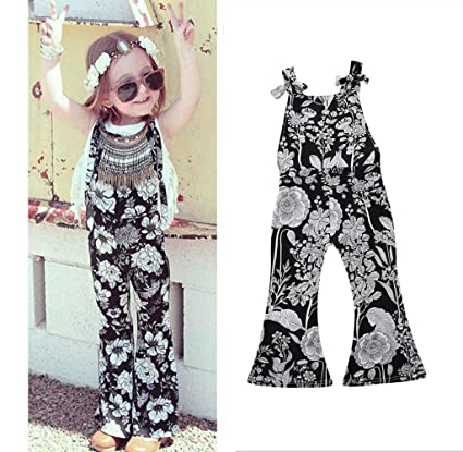 52c288b47c5 Franterd Baby Girls Strap Rompers for Toddler Kids Summer Overalls  Sleeveless Jumpsuits Bell Flares Floral Black