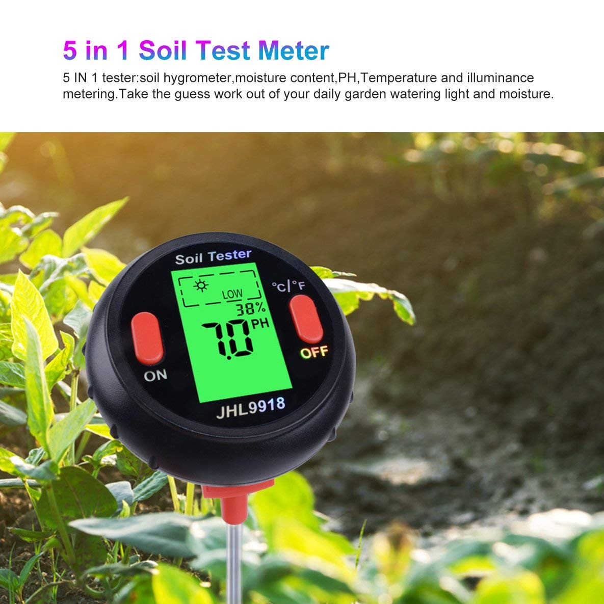 Noradtjcca 5 dans 1 Sol PH testeur d/étecteur Eau humidit/é temp/érature lumi/ère analys/ée m/ètre m/ètre de Plante m/ètres pH pour Jardin//Ferme//pelouse