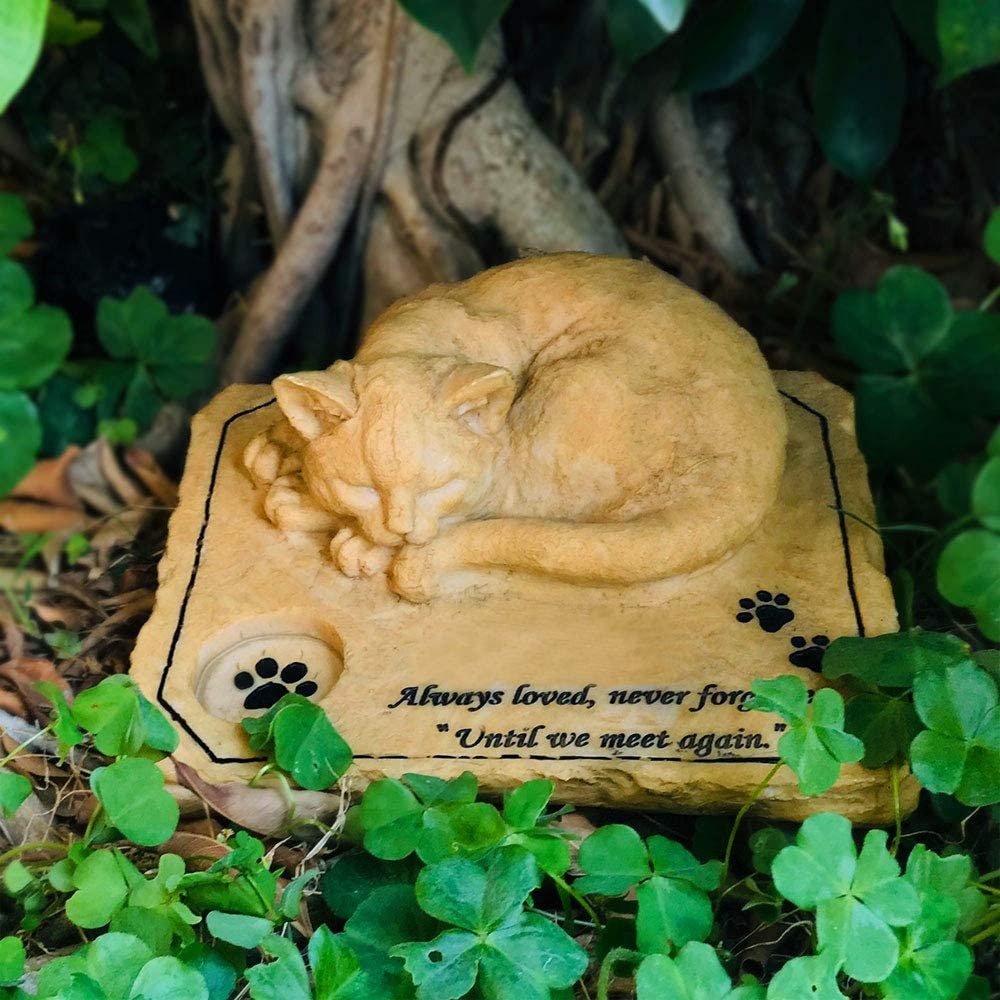 JHP Pet Memorial Stone Marker for Cat, 3D Cat Sculpture Garden Stone for Loved Pet, Cat Grave Marker Stone Headstone Tombstone, Garden pet Decoration Loss of Cat Gifts