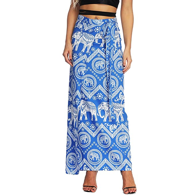 Nuofengkudu Mujer Falda Larga Hippie Amarra la Cintura Alta Boho Patrón De Estilo Tailandés Faldas de Playa Fiesta Skirts