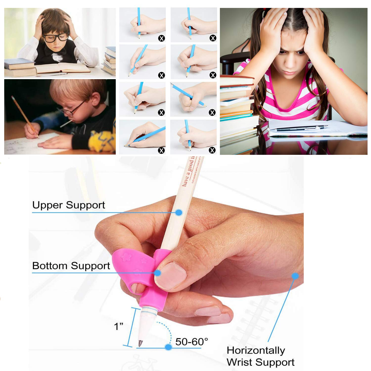 Pencil Writing Grips for Kids Handwriting 20 Pack Pencil Holder Utensils Pen Writing Aid Grip Posture Correction Tool with Comfortable Ergonomic Writing by Bomach (Image #5)