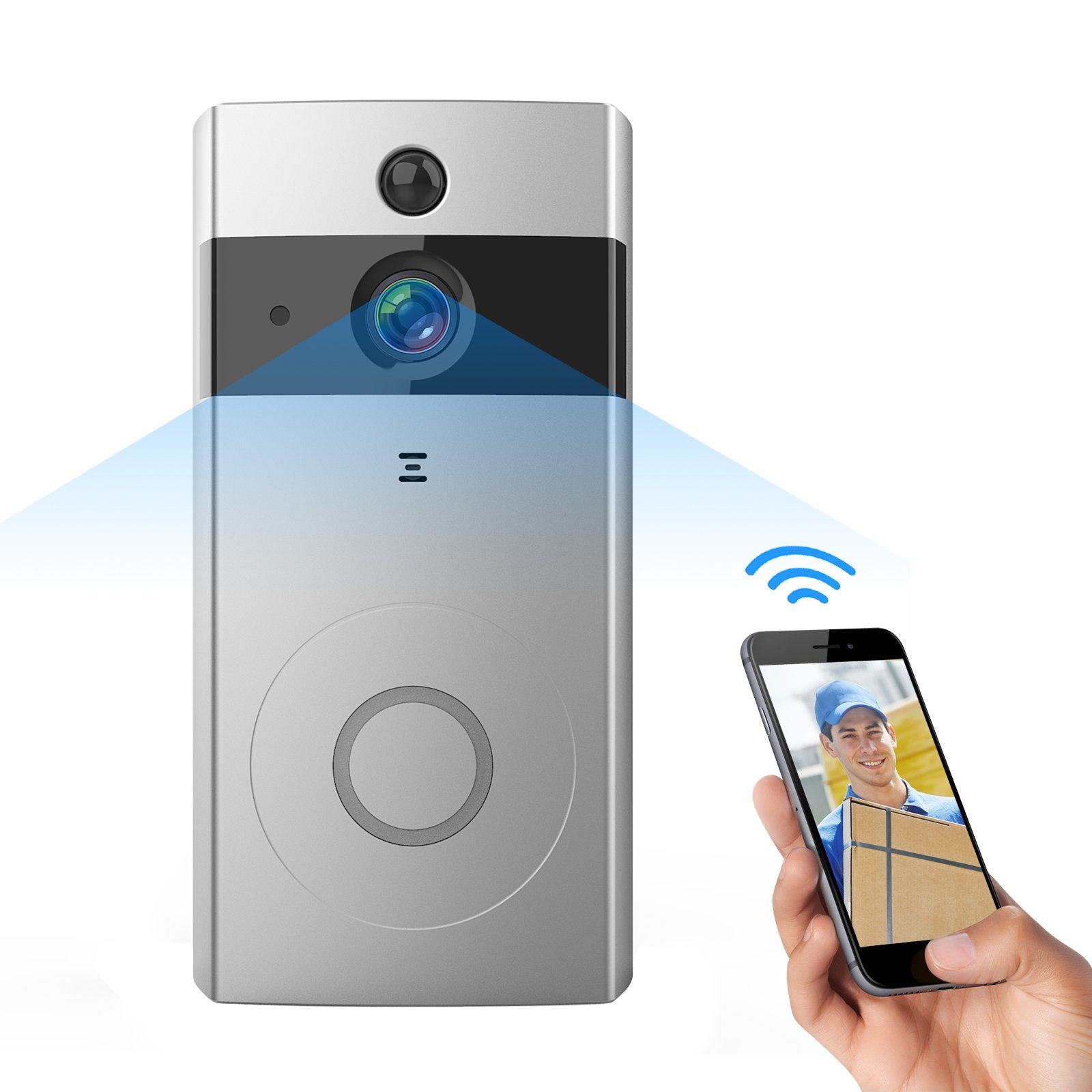 Antaivision Wire-Free WiFi Video Doorbell Camera,PIR Motion Detection,Night Vision,Two Way Audio,Built-in 8G SD Card iOS/Android APP.