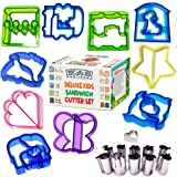 Sandwich Cutters For Kids 10 Fun Sandwich Cutters + 11 Stainless Steel Cookie Cutters & Fruit Stamp Set For Biscuits Pancakes Cheese and Pastry For Toddlers Boys & Girls