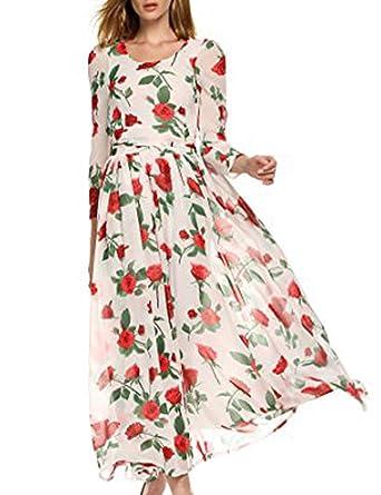 9df5634e0a4 Zeagoo Women s Floral Print Chiffon Long Sleeve Maxi Dress at Amazon ...