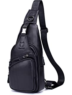 Chest Bag for Men Leather Fashion Casual Daypacks 088