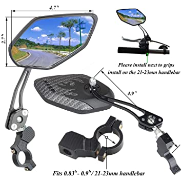 SOXDirect Bicycle Sunglasses Rearview Mirror 360 Degree Adjustable Mirror Reflector End Rearview MTB Road Bicycle Accessories Universal