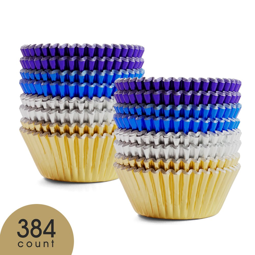 Prodigen Foil Cupcake Liners Baking Muffin Paper Cases Silver & Gold & Purple & Blue 4 Colors Cake Baking Cups for Birthday, Wedding, Party, Festival for Boys, Girls, Kids, Adults(1 Pack)
