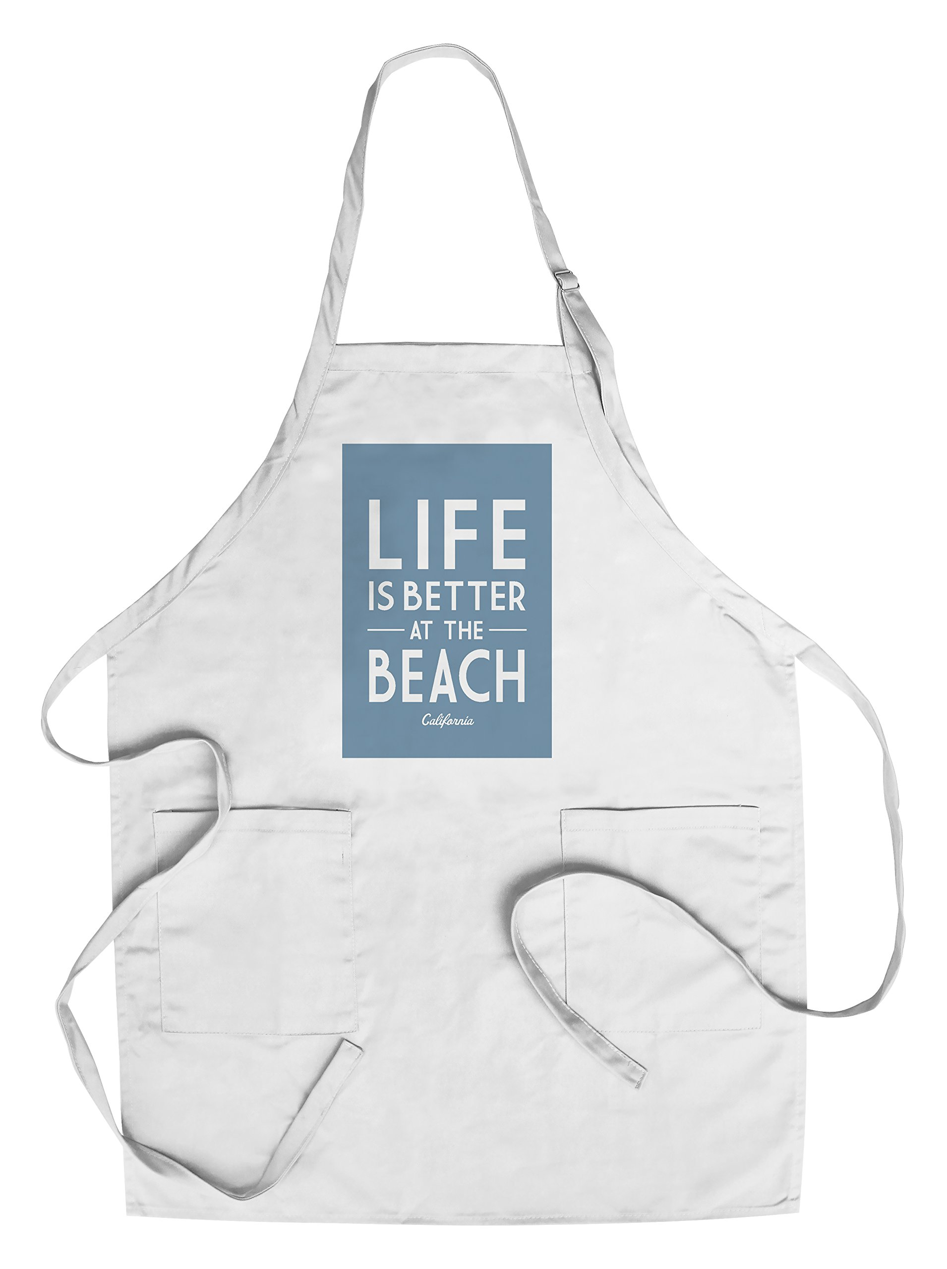California - Life is Better At The Beach - Simply Said (Cotton/Polyester Chef's Apron)