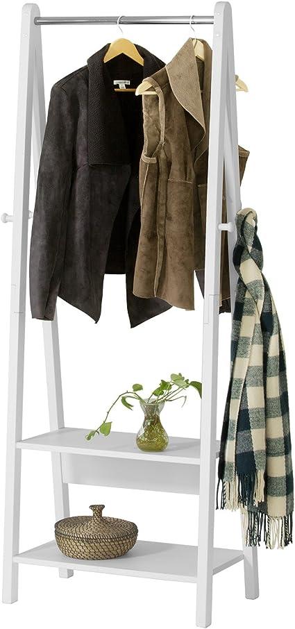 SoBuy® Moderna estantería escalonada con 2 estantes, Estantería de diseño con Ganchos y Barra para Abrigos,Blanco, FRG59-W,ES