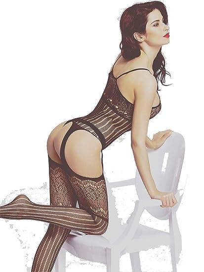f85b93050c Amazon.com  Amoretu Women s Crotchless Bodystocking Fishnet Bodysuit ...