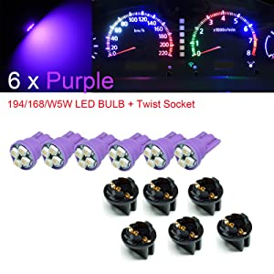 "PA 6 x T10 168 194 Led instrument Panel Dash Light Bulb 1/2"" Twist Lock Socket -12V (Purple)"