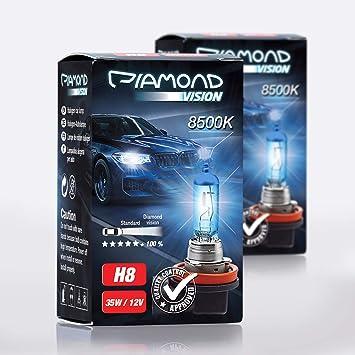 2x H8 12v 35w Diamond Vision Xenon Look Effekt Halogen Lampen Birnen Optik Super White 8500k Abblendlicht Nebelscheinwerfer Kaltweiss Weiß Duobox Pgj19 1 Auto