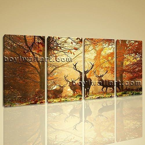 Amazon.com: Large Deer Autumn Woods Animal Contemporary Wall Art ...