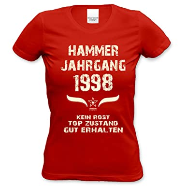 Soreso Design Geschenk 20. Geburtstag Damen Kurzarm T-Shirt Geschenkidee  für Sie :-: Hammer Jahrgang 1998 :-: Schwester Freundin Farbe: rot:  Amazon.de: ...
