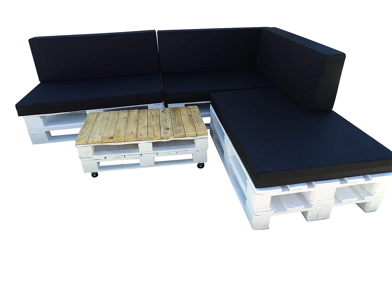 Cojines para sofas de Palets & Asiento + Respaldo de espuma para Sofá Palet enfundado en Microfibra color Negro