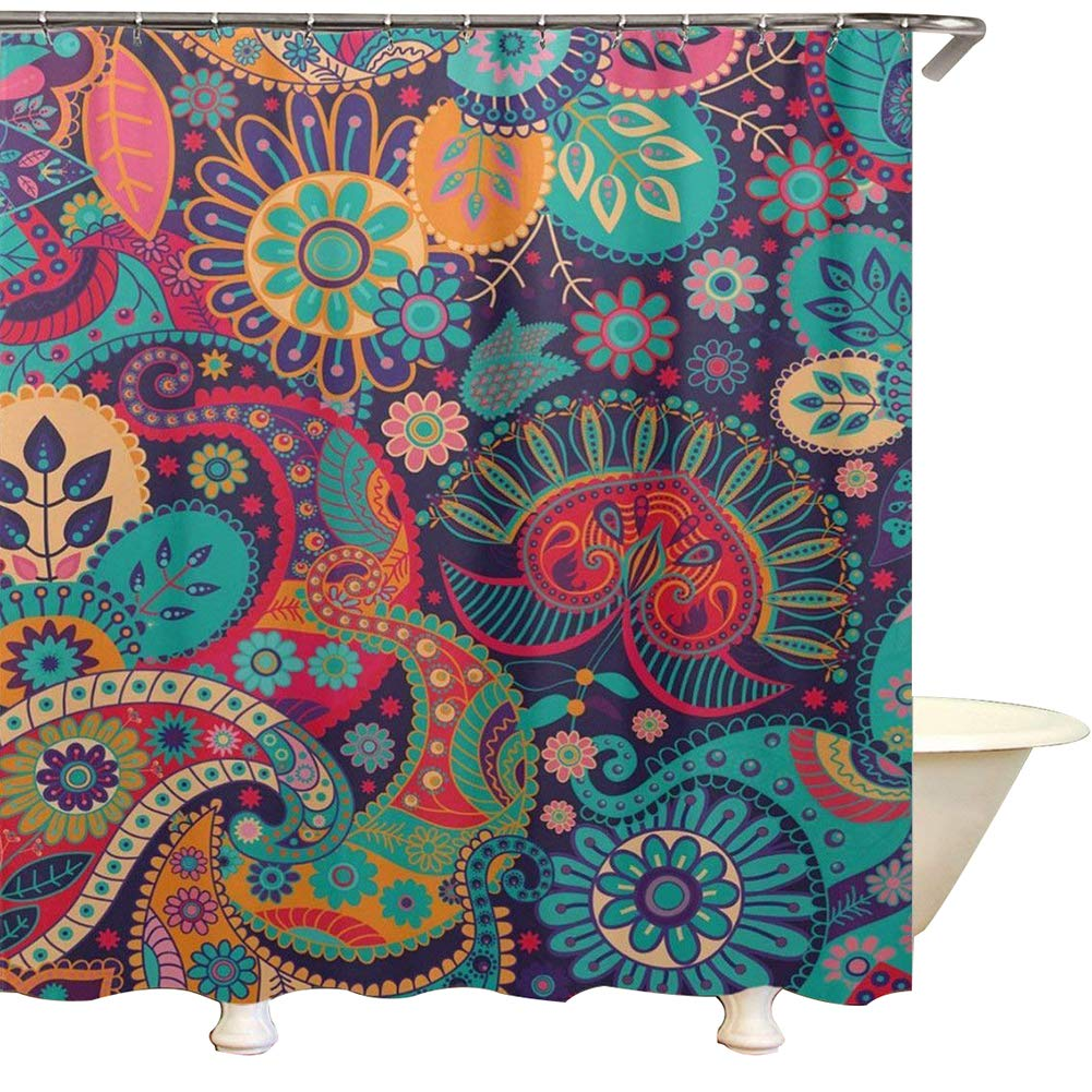 QEES Boho Psychedelic Shower Curtains Hippie Mandala Bathroom Curtain Decor Magical Thinking Bohemian Decoration for Home Dorm Room YLB24 (style 2, 59'' W72 H)