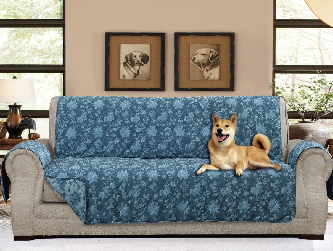 """American Home Reversible Slipcover Furniture Protector with Removable Elastic Strap - Protection from Soils, Spills, Stains and Pets - Carrie Toile (Sofa (124"""" x 70""""), Blue)"""