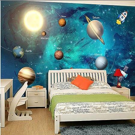 3d Space Universe Kids Room Star Planet Wallpaper Boy Bedroom