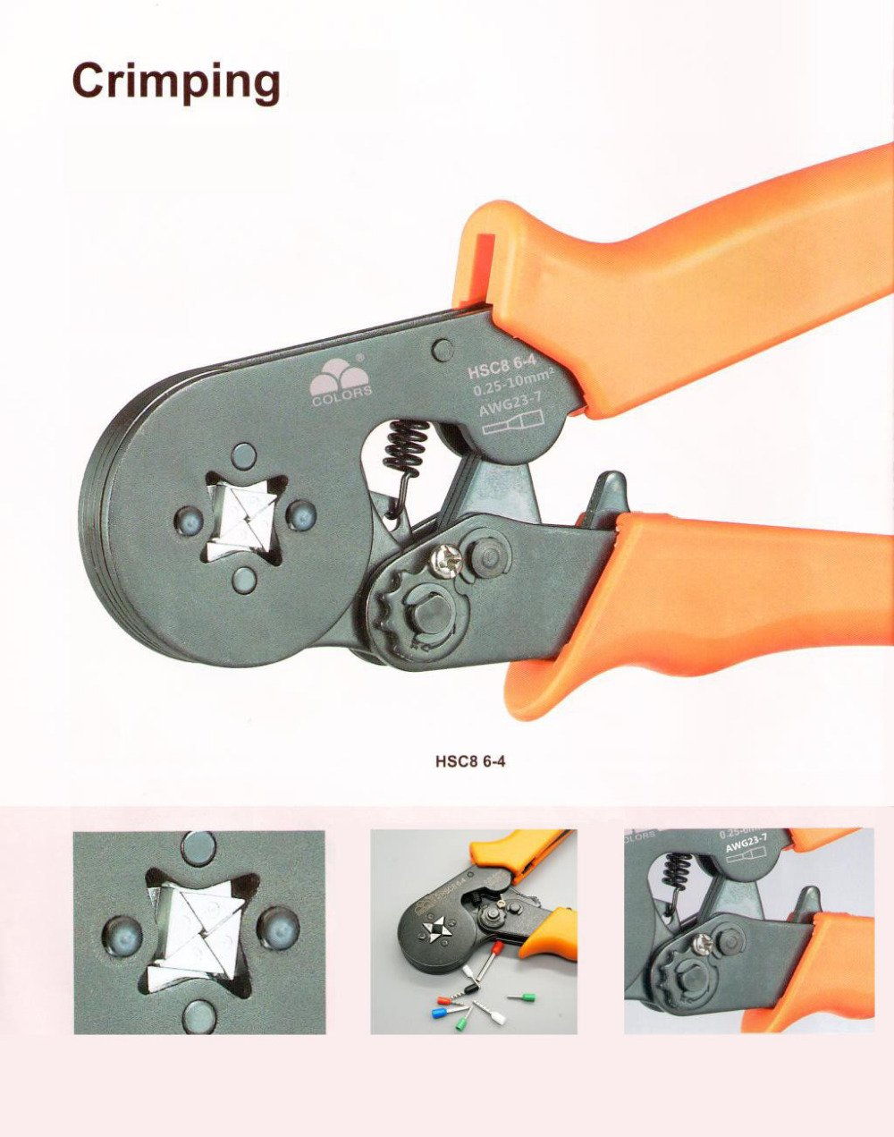 Crimper Plier HSC8 6-4 Self-adjustable Crimping Tools Used for 0.25-10mm2 (AWG23-7)Cable End-sleeves
