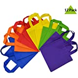 "10x10"" Reusable Party Favor Tote Gift Bags with Handles 12 Pack- Assorted Bright Neon Colors"
