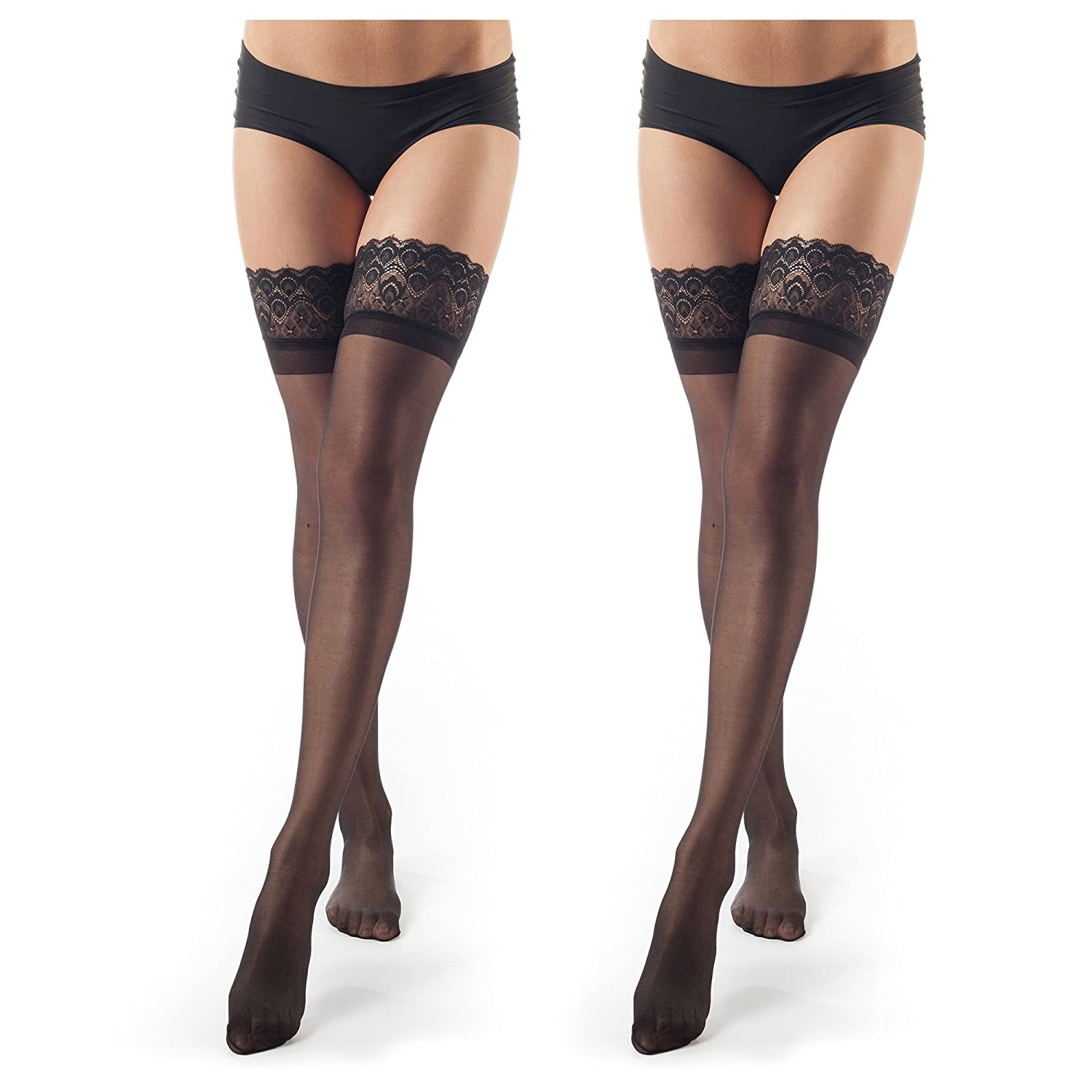 2 Pairs  Black ElsaYX Women's Lace Top ThighHigh Stockings