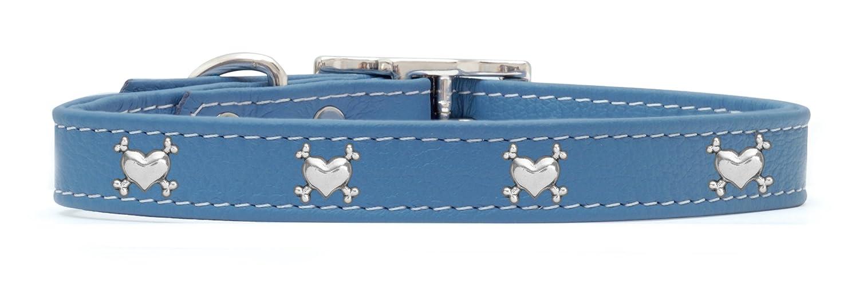 Rockin' doggie Heart Bones Rivet Leather Dog Collar, 3 4 by 18-Inch, bluee