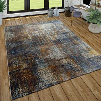 Tapis Poils Ras Salon Aspect Usé Patchwork Style Industriel Moderne Coloré,  Dimension:120x170 cm