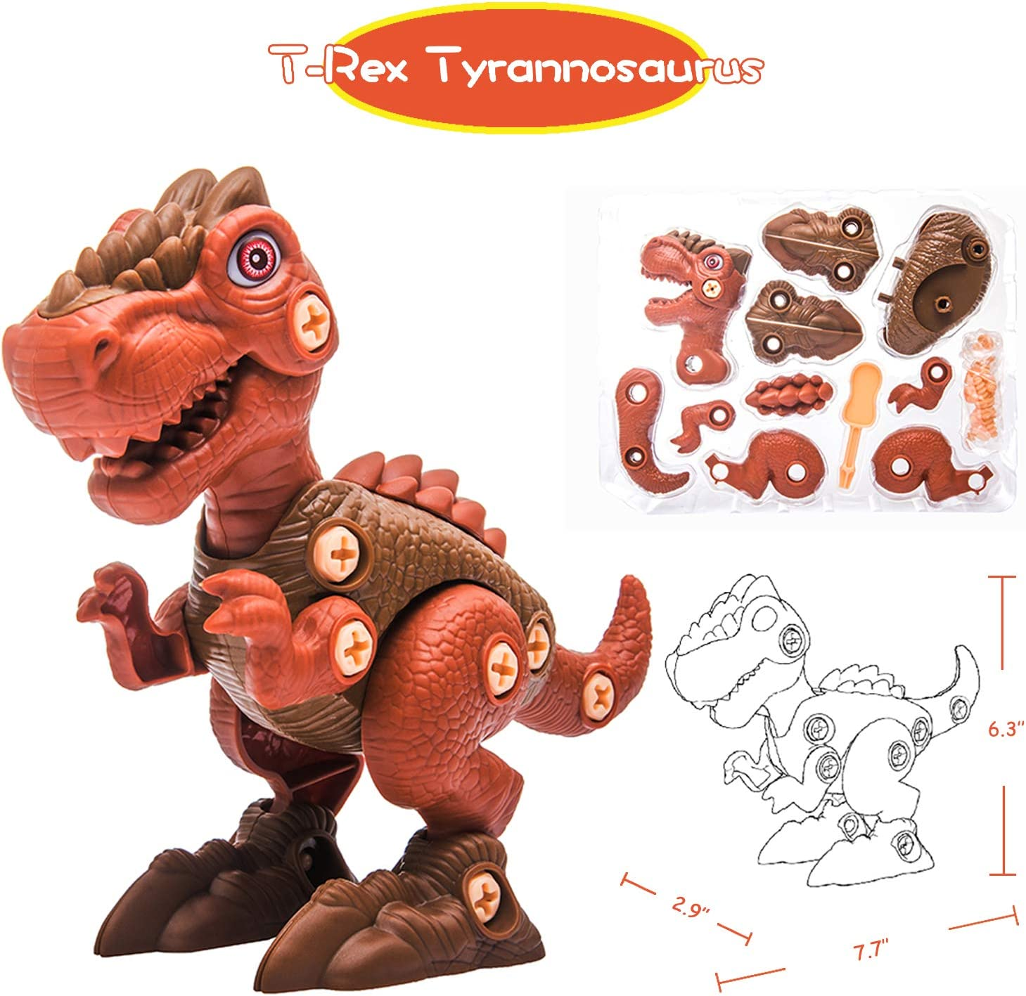 T-Rex Tyrannosaurus 4 5 year old Boys /& Grils Dinosaur Building Take Apart Toy with Electric Drill and Screwdriver Raptor Dinosaur Toys Triceratops Gift for 3 Stem Learning Educational Toy